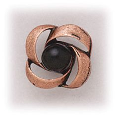 Simply Whispers hypoallergenic and nickel free Jewelry pierced earrings antiqued copper posted open swirl setting with jet black bead