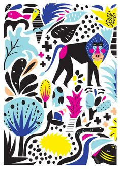 Neon Jungle A4 Print. by HelloPants on Etsy