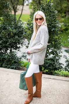 fall 2015 knee high boots white jeans turtleneck sweater