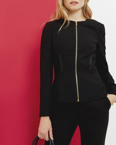 Textured fitted jacket - Black | Tailoring | Ted Baker UK