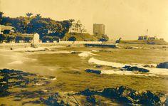 Vista geral do Farol da Barra, um dos principais cartões-postais da capital baiana, em imagem antiga.