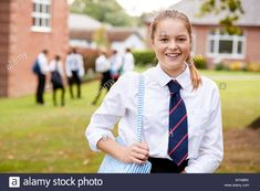 Stock Photo - Portrait Of Female Teenage Student In Uniform Outside Buildings Cute School Uniforms, School Girl Dress, Building Images, Vectors, The Outsiders, Buildings, Girls Dresses, Student, Illustrations