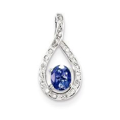Sterling Silver Tanzanite & Diamond Pendant