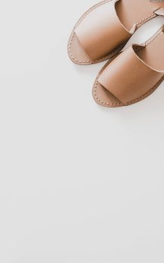 Natural, minimal, leather sandals. Summer style and women's fashion.