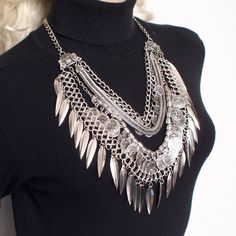 Boho Layered Leaf and Coin Statement Necklace Save 68%! - The Pynk Store - #bohonecklace