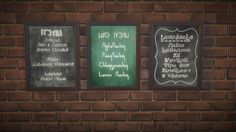 by budgie2budgie - Chalkboard menus (Gourmet Dinner Menu, Nectar and Lunch Subs) in simlish