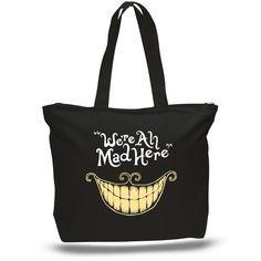 We're All Mad Here Book Tote Bag, Book Tote, Alice in Wonderland,... ($27) ❤ liked on Polyvore featuring bags, handbags, tote bags, courier bag, glitter tote, canvas tote purse, messenger bag purse and glitter purse