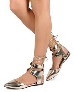 ba51b0a0fd0dbd Breckelles EA64 Women Metallic Pointy Toe D orsay Wrap Gladiator Flat -  Gold (Size  8.5) Breckelles