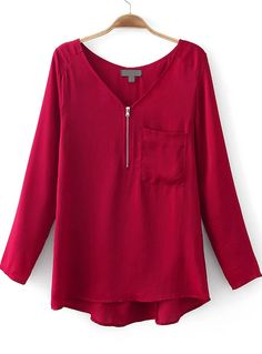 Wine Red V Neck Long Sleeve Zipper Pocket Blouse - Sheinside.com