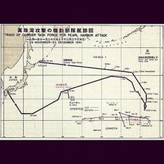 World War II History Track of Japanese Carrier Task Force for the Pearl Harbor attack.