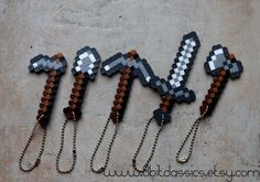 Minecraft Iron Tool Keychain - Pick your Tool or Weapon. $3.00, via Etsy.