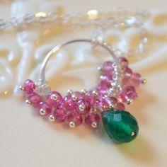 NEW Gemstone Necklace Emerald Green Onyx Genuine by livjewellery, $147.00
