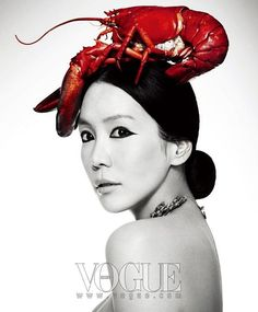 Popular South Korean Actress Kim Jung Eun covers Vogue Korea in a lobster .