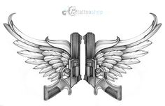 Drawings of Skulls and Guns | Angel Wings With Guns Tattoo Design