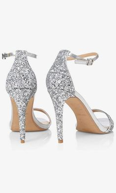 e9fc3e985e5 Silver Glitter Sleek Heeled Sandal from EXPRESS  Promheels Silver Shoes  Heels