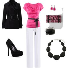 Work outfit for sure and more pink accent with pink shoes.