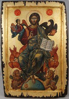 Jesus Christ in His Glory Hand-Painted Byzantine Icon Cretan Style