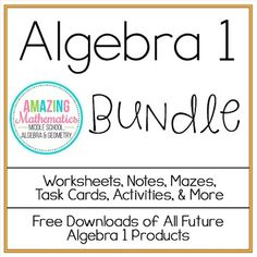 This bundle includes all the notes, worksheets, & activities in my store that pertain to Algebra.This bundle includes $155 worth of material for $80.  A total of 85 products are included!Overlap Between Other BundlesThere is a large amount of overlap between this bundle and my 8th Grade Math bundle.