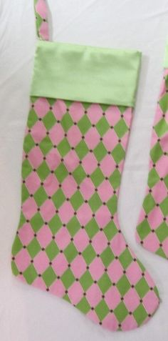 Pink & Green Harlequin Christmas Stocking. 15.00, via Etsy.