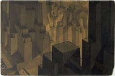 klockarp:  MoMA | The Collection | Hugh Ferriss. Buildings in the Modeling Project, Aerial perspective. 1924