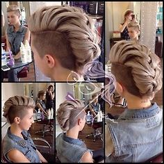 This looks super cool Buzzed sides, 'mohawk' braid - I'll be doing this to my hair once it grows back out, which is going to be a while! Braided Mohawk Hairstyles, Mohawk Braid, Top Hairstyles, Easy Hairstyle, Bridal Hairstyle, Braided Hair, Hairstyle Ideas, Short Hair Cuts, Short Hair Styles