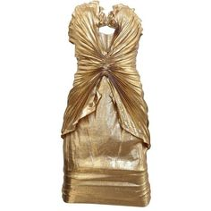 Preowned Late 80s Thierry Mugler Iconic Gold Silk Lame Bustier Dress (6 100 AUD) ❤ liked on Polyvore featuring dresses, multiple, silk dress, gold dress, silk cocktail dress, yellow gold dress and preowned dresses