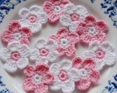 These mini crochet flowers made with cotton yarn, they are so cute. Flower size in Flower colors in pink, off white You can sew these crochet flowers on to dress, Jacket, sweater. etc Please take a look at my yarn shop. Crochet Headband Free, Crochet Flower Headbands, Crochet Flowers, Yarn Flowers, Colorful Flowers, Flower Colors, Flower Colouring In, Sunburst Granny Square, Look At My