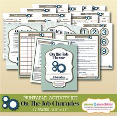 Charades For Family Fun: On The Job theme (includes 10 printable games, score card, fun snack ideas and more!)