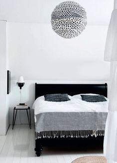Black and white bedroom from @ELLE DECOR via @sfgirlbybay / victoria smith. #globe #pendant