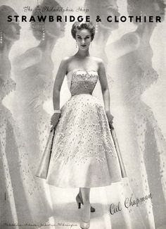 CEIL CHAPMAN Strapless White Cocktail Dress, 1953 #EasyNip