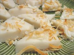 Coconut Pudding Triangles (Haupia) from Food.com:   								This is from the pages of Sunset Magazine. It is usually served at Luas and potlucks in Hawaii. If you love coconut give this a try! Cook time includes chilling time.
