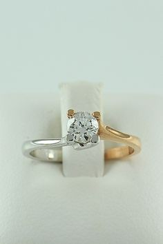 Δίχρωμο μονόπετρο δαχτυλίδι, λευκόχρυσο & ροζ χρυσό, 14 καράτια, Κωδικός WGD009