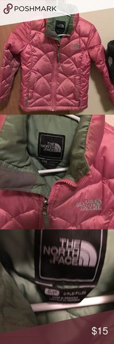 North Face jacket North face puffer jacket for girls, has some signs of wear around the wrists (might wash off) , pink with sage green on the inside North Face Jackets & Coats Puffers