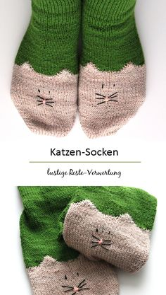 Reste-Verwertung mal anders :) free pattern: YinYan Kitty Ankle Socks || ravelry)