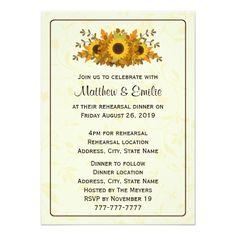 Outdoor Wedding Rehearsal Dinner Invitations Elegant Sunflowers Rehearsal Dinner Invitation