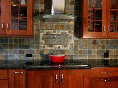 Cooktop, Backsplash, Hood - transitional - kitchen - chicago - Normandy Remodeling color of granite is tan brown Small Kitchen Backsplash, Tan Kitchen, Slate Backsplash, Kitchen Decor, Kitchen Cabinets, Kitchen Ideas, Backsplash Ideas, Backsplash Design, Cherry Kitchen