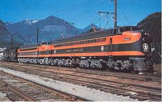 NOLA Rails Great Northern 5018 and 5019 class electric locomotives at Skykomish, WA. Photo by Montague Powell from the collection of Joe Shine. Electric Locomotive, Diesel Locomotive, Great Northern Railroad, Heritage Railway, Milwaukee Road, Burlington Northern, Railroad Photography, Rail Car, Electric Train