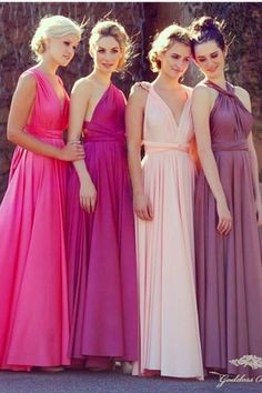 different styles on all bridesmaids and different shades of your colors or of one color