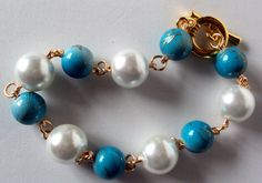 turquoise bracelet turquoise pearl bracelet chunky by NezDesigns, $10.00