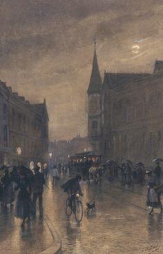 Johannes Anthony Last (1837-1901) - Haags stadsgezichtje bij avond.