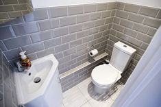 Cloakroom toilet downstairs loo - WC in Side Return Extension on a Victorian Terraced House in Redbridge, Cloakroom Toilet Downstairs Loo, Bathroom Under Stairs, Small Wc Ideas Downstairs Loo, Small Toilet Room, Small Bathroom, Small Laundry Sink, Attic Bathroom, Modern Bathrooms, Bathroom Layout