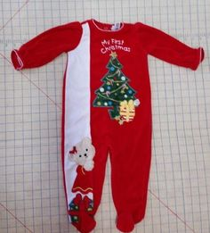 My First Christmas Infant Red Velvet Embellish Outfit Sleeper SZ 12 M Little Me  #LittleMe #EverydayHoliday