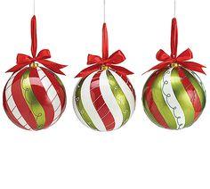 "#burtonandburton Hand-painted tin ornaments.6""H X 6""W X 6""D.Assortment of 3."