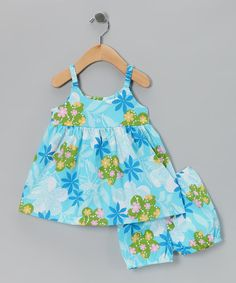 Take a look at this Blue Tropical Babydoll Dress & Bloomers - Infant by RJC Girls on #zulily today!