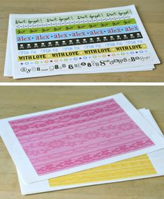 diy washi, print design on adhesive sheets, then cut into strips