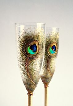 Wedding+Champagne+Gold+Peacock+Flutes+Hand+by+NevenaArtGlass,+$49.80