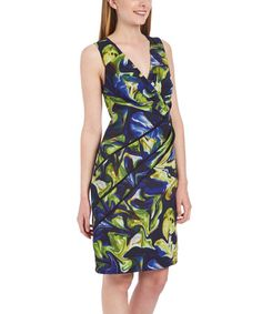 Look at this #zulilyfind! Blue & Green Abstract Surplice Dress #zulilyfinds