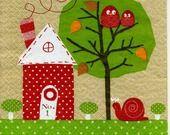 """serviette papier """"découpages naifs, maison, oiseaux, escargots"""" : Serviettage, Décopatch par nicole3011"""