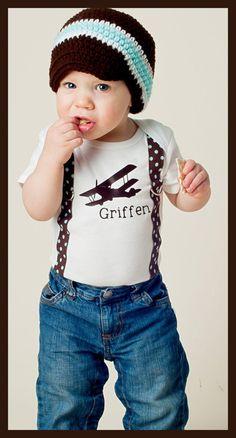 Little Flyer Classic Plane and Suspender-Clothing Children Boy tshirt onesie bodysuit baby suspenders plane