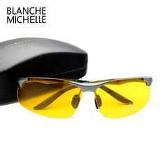c9c97e33484 2017 Aluminum Magnesium Men Sunglasses Polarized Sports Driving Night  Vision Goggles Sunglass Fishing UV400 Rimless Sun Glasses